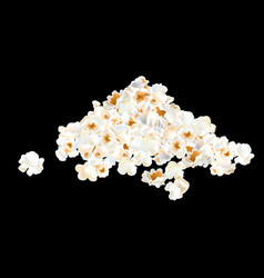 popcorn pile isolated on black vector image