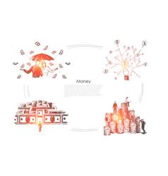 profit income millionaires with umbrella under vector image