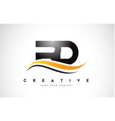 Rd r d swoosh letter logo design with modern vector