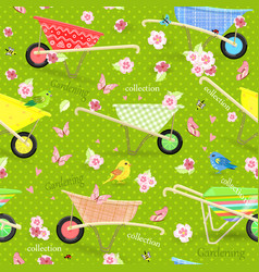 Retro seamless texture with cute garden vector