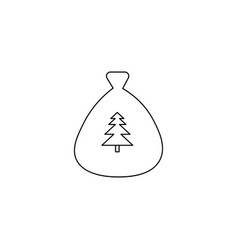 santa gift bag icon vector image
