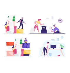 Set business people work with huge pile vector