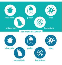 Set icons allergen vector