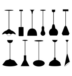 set of different pendant lamps vector image