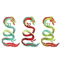 Set of Polygonal Chinese Dragons vector