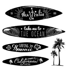 Set of vintage surfing logos and t-shirts vector