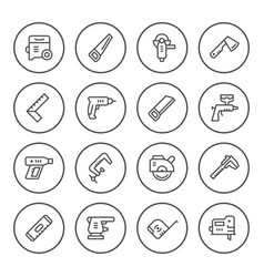 set round line icons of electric and hand tool vector image