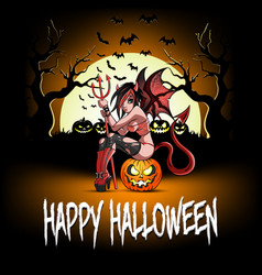 Sexy devil woman sitting on a halloween pumpkin vector