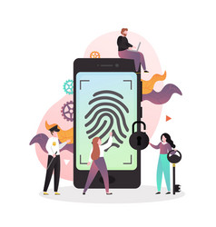 smartphone fingerprint security concept for vector image