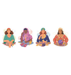 soothsayer mystic fortune tellers witch women set vector image