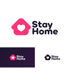 stay home logotype flat style vector image