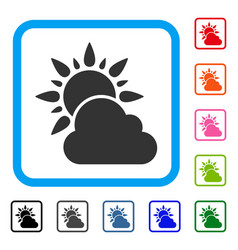 sun and cloud weather framed icon vector image
