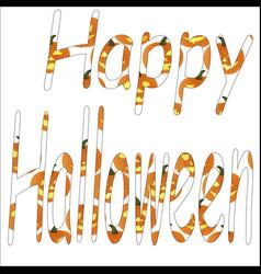 text of a happy halloween of pumpkins vector image