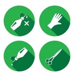 Tool icons set Glue rubber gloves scissors vector
