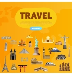 Travel world monument concept road trip vector