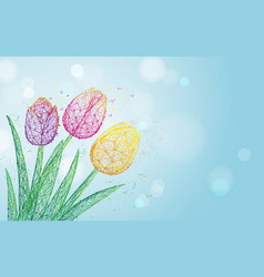 tulip flowers form lines triangles and particle vector image