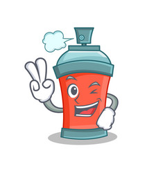 two finger aerosol spray can character cartoon vector image