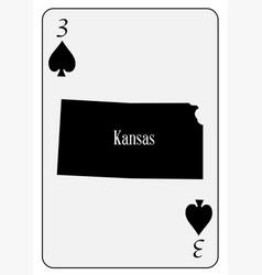 Usa playing card 3 spades vector