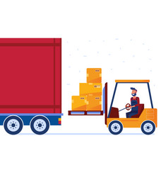 warehouse worker is loading truck with modern vector image