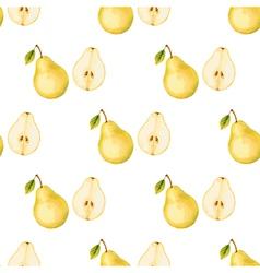 Watercolor pattern fruit pear vector