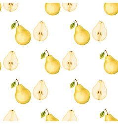 Watercolor pattern of fruit pear vector image