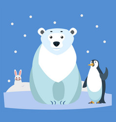 wildlife arctic animals bear and penguin rabbit vector image