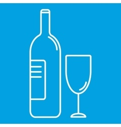 Wine bottle and glass thin line icon vector image