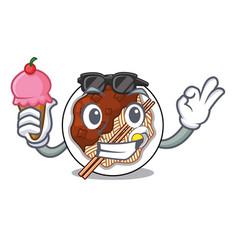With ice cream jajangmyeon in a cartoon shape vector