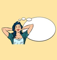 Woman dreams comic bubble background vector