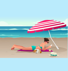 woman sunbathing on the beach vector image