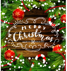 christmas design on wood vector image vector image