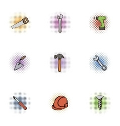 Construction icons set pop-art style vector image vector image