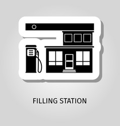 filling station black building sticker vector image