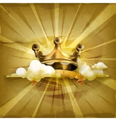Gold crown old style background vector