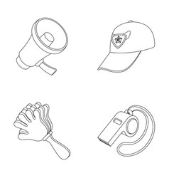 megaphone whistle and other attributes of the vector image