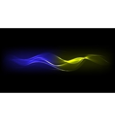 Abstract Blue Yellow Energy Waves vector image vector image