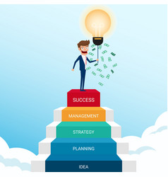 businessman standing on stair and get money vector image