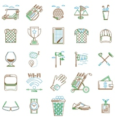 collection of contour icons for golf vector image
