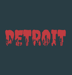 detroit city name and silhouettes on them vector image