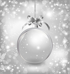 Empty snow-globe with silver bow vector image vector image