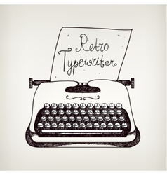 hand drawn doodle retro black ans white typewriter vector image