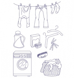 laundry related icon set vector image