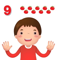 Learn number and counting number nine vector image