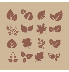 Leaves and Berries Silhouette Set vector image