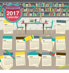 2017 Calendar Starts Sunday Education Concept vector image