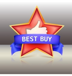 Best buy label with red star and ribbons vector image vector image