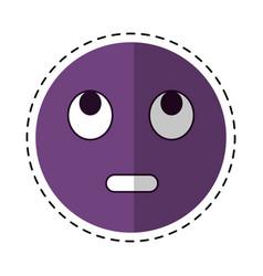 cartoon eye rolling emoticon funny icon vector image