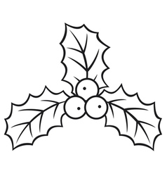 christmas holly berry symbol vector image vector image