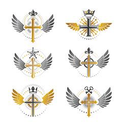 crosses of christianity emblems set heraldic vector image vector image