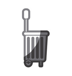 grayscale silhouette of shopping basket with vector image vector image
